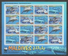 R1246 2009 MALDIVES WWF FISH & MARINE LIFE MELON-HEADED WHALE 1SH MNH - W.W.F.