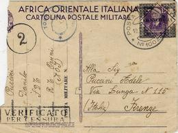 """WWII - 1941- C P FM  Du Torpilleur """"ORSINI"""" - La Partie Manquante A été Découpée Par La  Censurepour Oter MASSAOUA - Eastern Africa"""