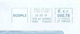 Ema Pitney Bowes CP - Rue Félix Faure - Président De La République - Enveloppe Entière - Postmark Collection (Covers)