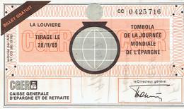 Ancien Billet De Tombola Journée Mondiale De L'épargne émis Par La CGER La Louvière (28/11/1969) - Lottery Tickets