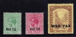 Bahamas 1918 War Overprints MH  SG 96-98 - Bahamas (...-1973)