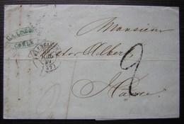 1849 Lettre De Cologne (Coeln Köln) Cachet De Valenciennes (Nord) Avec Cachet Route N°14 Paris Au Revers, Pour Le Havre - 1849-1876: Période Classique