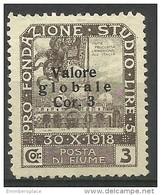 Fiume - 1920 Plebiscite Overprint & Surcharge (bold Print) 3cor/3cor Used   Mi 83II   Sc 83a - 8. WW I Occupation