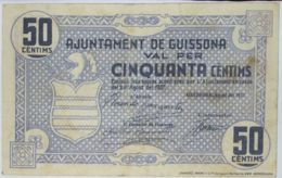 Ref. 433-813 - BIN SPAIN. Republican Local Issues . 1937. 50 CENTIMOS AJUNTAMENT DE GUISSONA 1937 - Otros