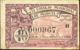 Ref. 441-821 - BIN SPAIN . 1937. 10 CENTIMOS CONSEJO MUNICIPAL DE MURCIA 1937 - Spanien
