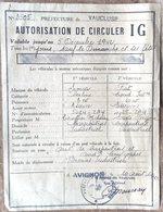 GUERRE 1939/1945 CARPENTRAS 1942 LAISSEZ PASSER  AUTORISATION DE CIRCULER POUR VEHICULE - 1939-45