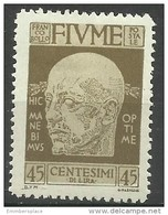 Fiume - 1920 Gabrielle D'Annunzio 45c  MH *    Mi 104   Sc 92 - Fiume