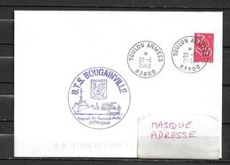 B.T.S. BOUGAINVILLE ,( Modifié B.E) - Retrait Du Service Actif - TàD TOULON ARMEES 20/06/08 - Postmark Collection (Covers)