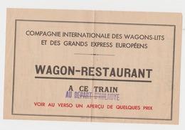 Chemins De Fer Wagons Lits Vers 1930 Tarif Du Wagon Restaurant Au Verso / Train Au Départ D'Aulnoye Gare ( Cachet ) - Publicidad
