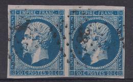 TIMBRE N° 14 En PAIRE (BELLES MARGES) OBLITÉRÉ TB OBLITÉRATION PC 38 De ALAIS ALES (GARD) - 1853-1860 Napoleon III