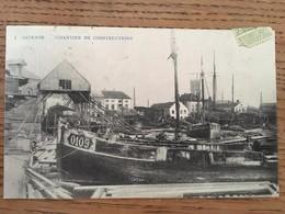 CPA, Ostende, Chantier De Constructions (Navales) écrite En 1912,éditeur G Theys - Oostende