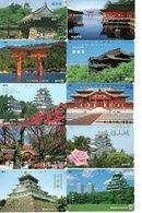 10 Télécartes Japon Japan Phonecard Toutes Différentes Pagodes Pagode Paysage Fleur (D 561) - Landschappen