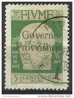Fiume - 1921 Gabrielle D'Annunzio Overprint 5c Used    Mi 114   Sc 134 - 8. WW I Occupation