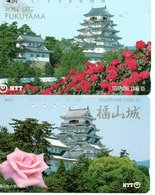 2 Télécartes Japon Japan Phonecard Toutes Différentes Pagodes Pagode Paysage Fleur (D 562) - Landschappen