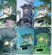 6 Télécartes Japon Japan Phonecard Toutes Différentes Pagodes Pagode Paysage Fleur (D 563) - Paysages