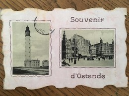 CPA, Souvenir D'Ostende, écrite En 1909, Timbre Enlevé, Fond Rosé à Facettes - Oostende