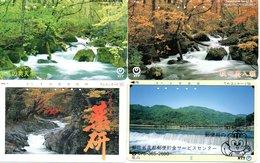 4 Télécartes Japon Japan Phonecard Toutes Différentes Cascade Waterfall Chute D'eau Paysage  (D 565) - Landschappen