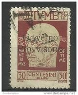 Fiume - 1921 Gabrielle D'Annunzio Overprint 30c Used   Mi 119   Sc 139 - 8. WW I Occupation