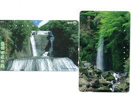 2 Télécartes Japon Japan Phonecard Toutes Différentes Cascade Waterfall Chute D'eau Paysage  (D 566) - Landschappen