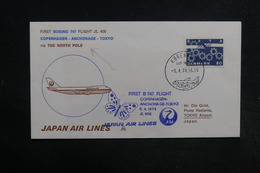 DANEMARK - Enveloppe 1er Vol Copenhague / Tokyo En 1974 - L 32302 - Cartas