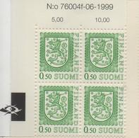 PIA - FINLANDIA  - 1976 - 1999 : Uso Corrente - Leone Rampante Nuovo Tipo - (Yv 749b X 4) - Nuovi