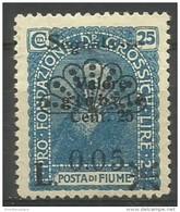 Fiume - 1921 Postage Due 5c/25c/25c Unused No Gum    Mi P17  Sc J17 - 8. WW I Occupation