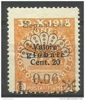 Fiume - 1921 Postage Due 6c/20c/20c Unused No Gum    Mi P18  Sc J18 - 8. WW I Occupation