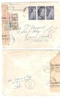 LAON Lettres Espagne CORRERO AERO  Taxée Déchirée Réparée Etiquette Chargement 11 Taxe Gerbe Yv 85 87 88 Ob 1958 - Taxes