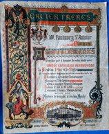 ENLUMINURE PUBLICITAIRE MAGNIFIQUE  GRANDE FEUILLE  SUR PAPIER VELIN COLOREE ET DOREE MEUBLES MERCIER VERS 1900 - Reklame