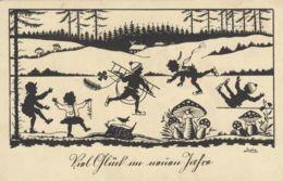 AK - Künstler AK - Scherenschnitt - Viel Glück Im Neuen Jahr - Scherenschnitt - Silhouette