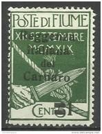Fiume - 1920 Carnaro Overprint 1c/5c MH *    Mi C1  Sc 104 - 8. WW I Occupation
