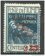 Fiume - 1920 Carnaro Overprint 2c/25c MH *    Mi C2  Sc 105 - 8. WW I Occupation