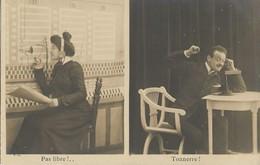 CARTE POSTALE PHOTO ORIGINALE ANCIENNE N° 3 LES P T T : UNE OPERATRICE CENTRALE TELEPHONIQUE PAS LIBRE !.. TONNERRE !!! - Poste & Facteurs