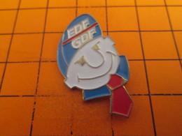 615e Pins Pin's / Rare & TB état / THEME : EDF GDF / EMPLOYE RAVI C'est Le Cochon De Client Qui Finance Sa Retraite !! - EDF GDF