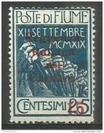 Fiume - 1920 Carnaro Overprint 15c/25c MH *    Mi C7  Sc 110a - 8. WW I Occupation