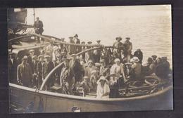 """CPA PHOTO 76 - LE TREPORT - Promenade En Mer Sur Le Vapeur """" BALIDAR """" - TB PLAN Bâteau ANIMATION à Bord Passagers 1925 - Le Treport"""
