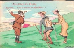 TOURISTES EN ALSACE REGARDEZ VOILA LA DIRECTION DU MONT BLANC CIRCULEE 1921 - Humour