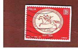 ITALIA REPUBBLICA  -   2019  BICENTENARIO PRIMA CARTA POSTALE BOLLATA REGNO SARDEGNA  -   USATO  ° - 6. 1946-.. Repubblica