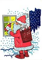 Santa Claus Putting A Present Bag In The Window, Christmas, Postcard 1991 - Santa Claus