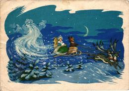 Santa Claus And A Sky Sleigh With A Bear And A Princess, Christmas, Russian Postcard 1961 - Santa Claus