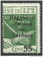 Fiume - 1920 Carnaro Overprint 55c/5c MH *    Mi C12  Sc 116 - 8. WW I Occupation