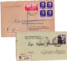 ITALIA Storia  Postale  Regno   Lotto Di  1 Busta +  1  Piego   Viaggiate X Raccomandate - 1900-44 Vittorio Emanuele III