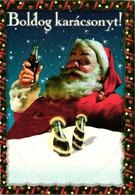Santa Claus With A Coke, Coca Cola Advertising, Christmas, Hungarian Postcard - Santa Claus