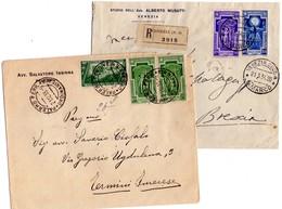 ITALIA Storia  Postale  Regno   Lotto 2 Buste  Una  Viaggiata X  Raccomandate - 1900-44 Vittorio Emanuele III