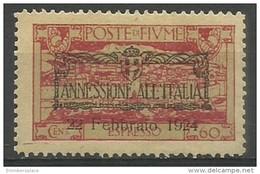 Fiume - 1924 Express Mail 60c MH *    Mi 194  Sc E16 - Fiume
