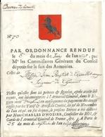 ARMOIRIE .ORDONNANCE CONSEIL DEPUTES SUR LES ARMOIRIES .1698 . GRENOBLE - Documents Historiques
