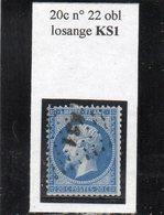 Paris - N° 22 Obl Losange KS1 - 1862 Napoléon III