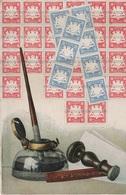 Tintenfass Philatelie Litho AK Bayern Bavaria Bavière 10 20 Pfennig Block Briefmarke Stamp Timbre Stempel Cachet Encrier - Poste & Facteurs