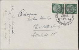 Sonderstempel BERLIN OLYMPISCHES DORF 19.6.36, MiF Brief 2x 6 Pf. Hindenburg  - Olympische Spiele