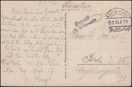 Feldpost Geprüft 12. Kompanie Auf AK Kirchhof Bei Binarville FELDPOST 3.9.16 - Besetzungen 1914-18